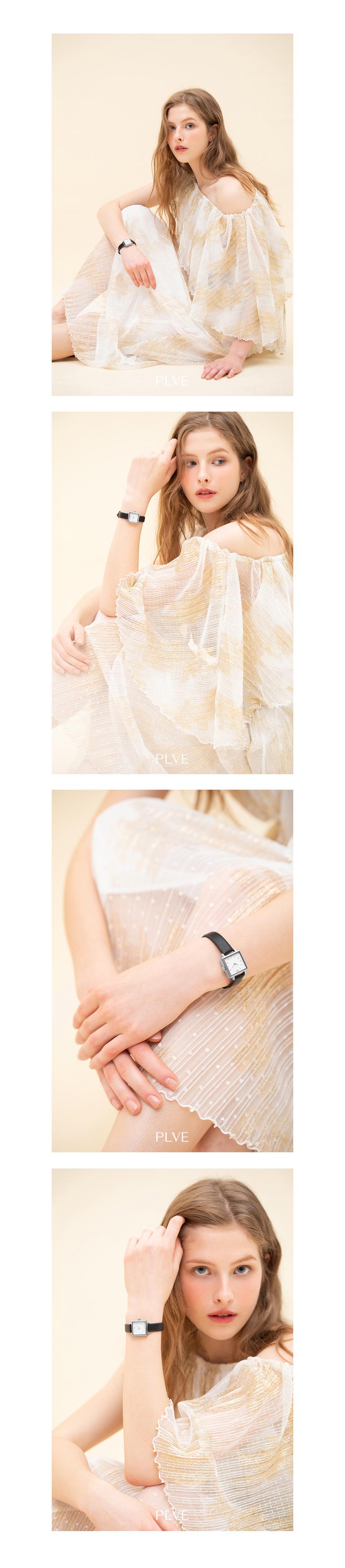 폴바이스(PAUL VICE) Miniel S White - Black 여성 가죽 시계 PV603BK